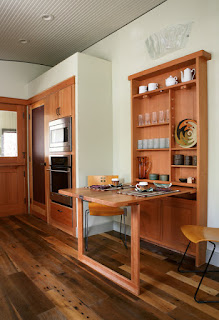 Amazing Wooden Dining Room Tables For Small Spaces near Wooden Shelves and Chairs on Hardwood Floor