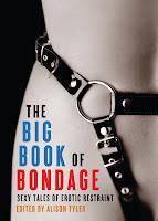 Cover of Big Book of Bondage, bold, striking, and clean. A light-skinned woman's right waist and hip, from about three-quarters up her thigh to one-third of the way up her rib cage. A black leather harness with an O-ring and silver buckles transects her waste and goes under her crotch. Black background behind her. The book title and author's name are all on her hip and thigh, below the harness.