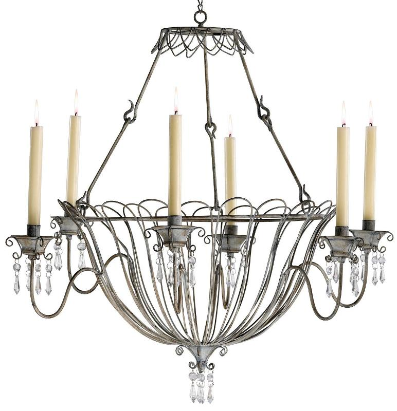 Non Electric Wrought Iron Candle Chandeliers With Crystals Accessories