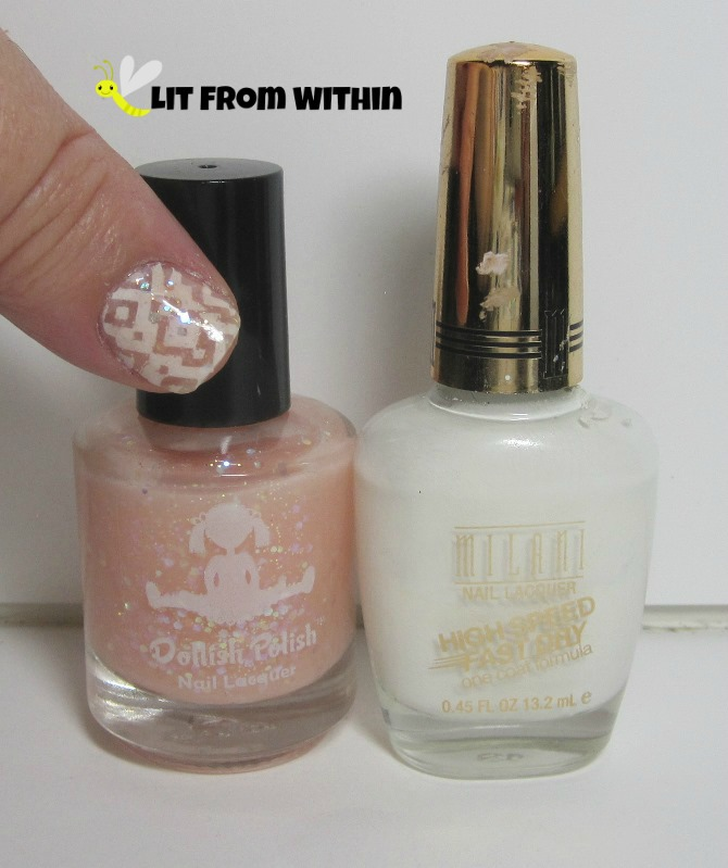 Bottle shot:  Dollish Polish Peter Cottontail, and Milani White On The Spot.