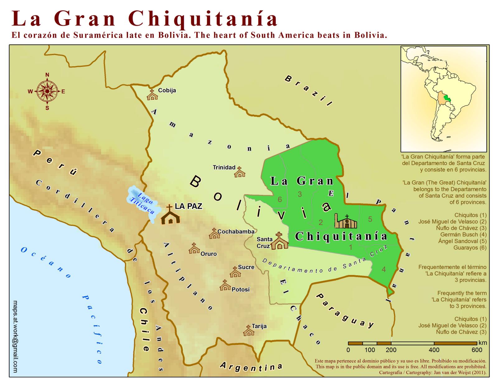 Maps At Work Tourism Map La Gran Chiquitania Bolivia - South america map gran chaco