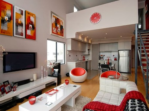 living room interior design with modern furniture