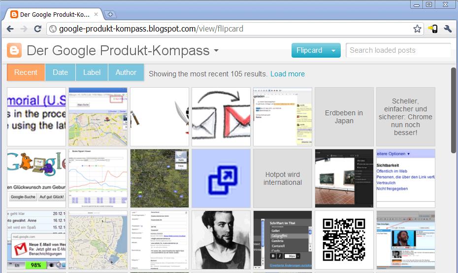 Beispiel Dynamisches Template Blogger Produkt-Kompass