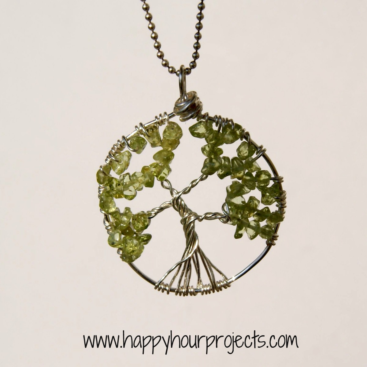 wire wrapped tree necklace happy hour projects