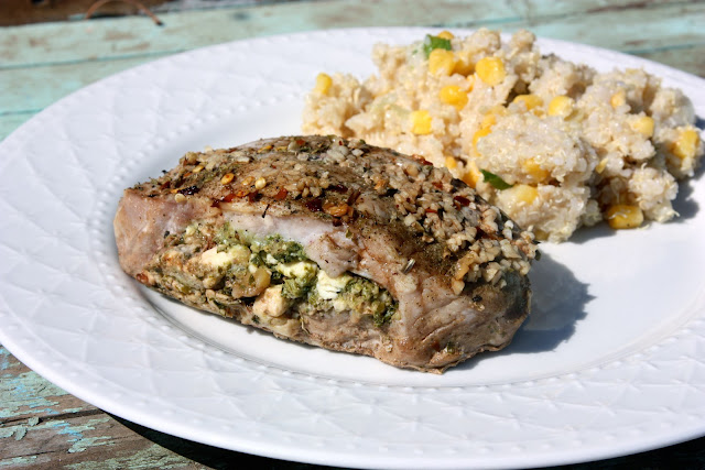 Feta and Pesto Stuffed Pork Chops