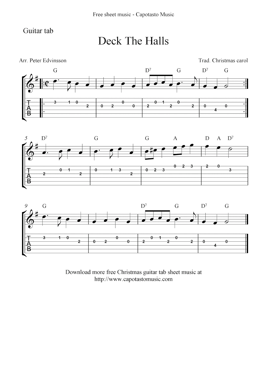 Deck The Halls, free easy guitar tablature sheet music score