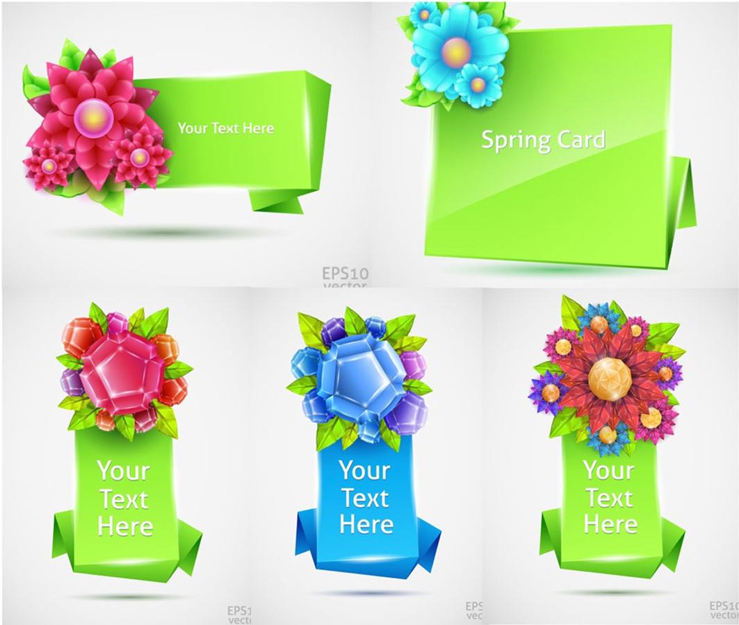 春の花で飾るバナー spring flower banner templates イラスト素材