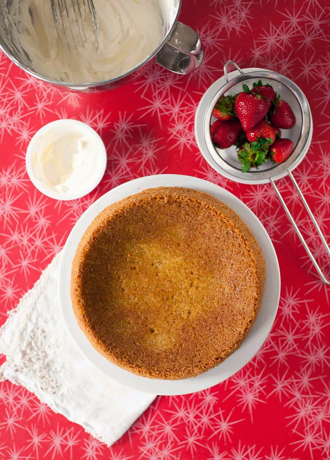 Golden Cake with Strawberries & Whipped Cream (Gluten free, Grain free) | acalculatedwhisk.com