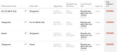 Bảng giá vé máy bay khuyến mãi đi Singapore từ Jetstar