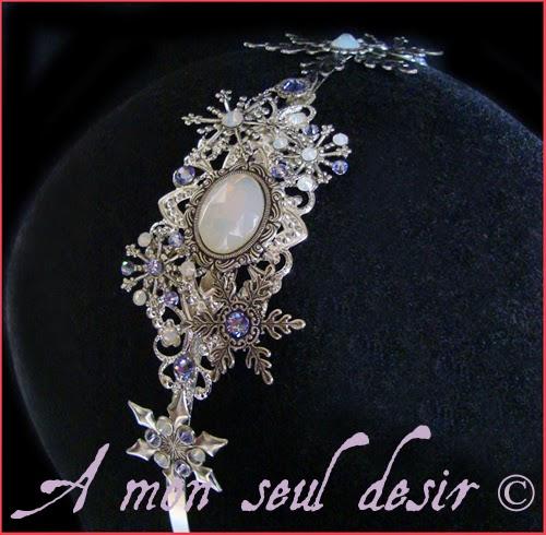 Serre Tête reine des neiges flocons cristaux opale cristal lavande mariage Flocon de Lune Elsa Frozen headband queen of snow snowflake crystal headdress