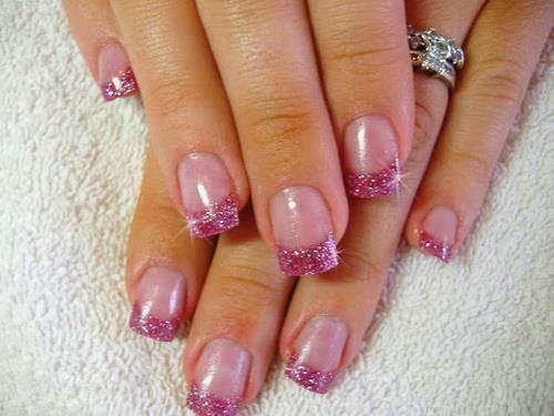 LED polish manicure glitz gel back-fill and re-balance acrylic and LED polish with nail art gel french acrylics and glitz