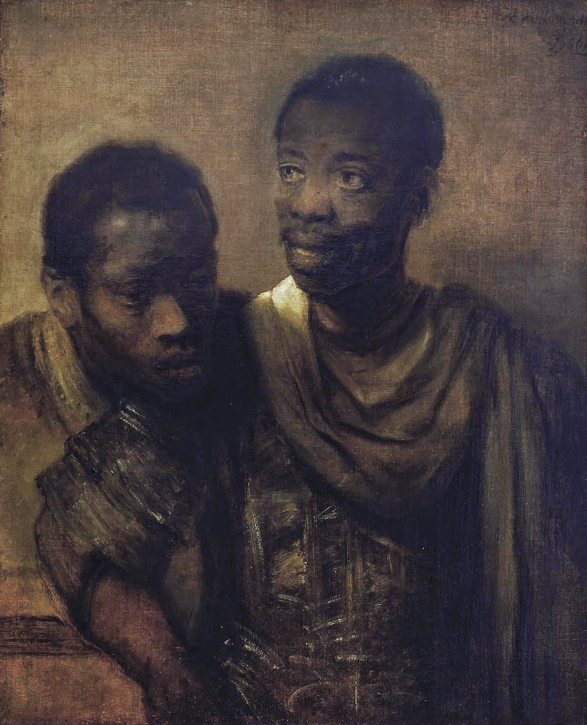 art artists rembrandt part  1661 two young africans oil on canvas 77 8 x 64 4 cm mauritshuis the hague