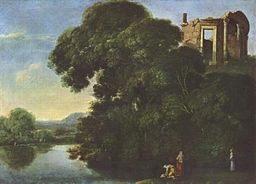 oil paining: Landschaft mit dem Vestatempel in Tivoli - by Adam Elsheimer