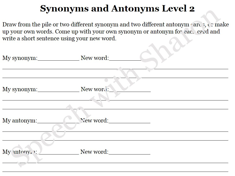 Worksheets 100 Words With Synonyms And Antonyms speech with sharon race car synonyms and antonyms my 100 from there your student must come up their own synonymantonym to that word use new in a sentence