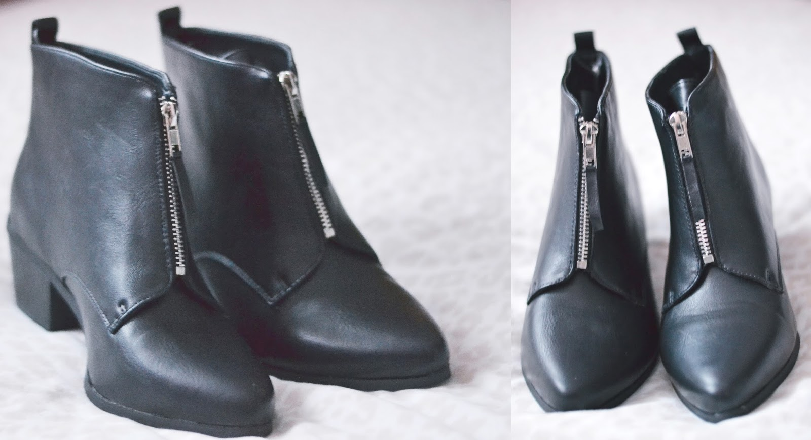 new look black zip front pointed boots