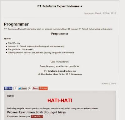 Lowongan kerja resmi PT Solutama Expert Indonesia