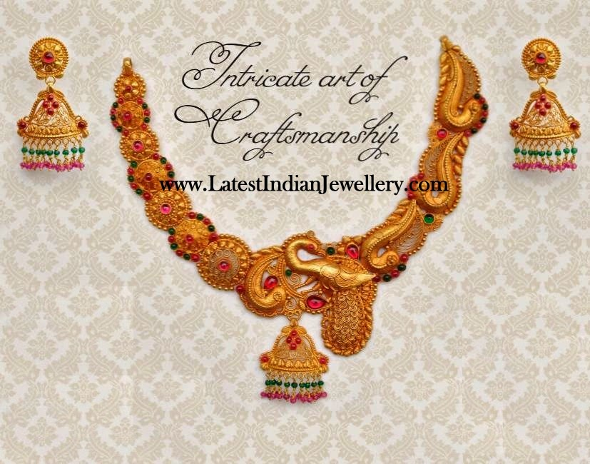 Intricate Gold Peacock Designer Necklace