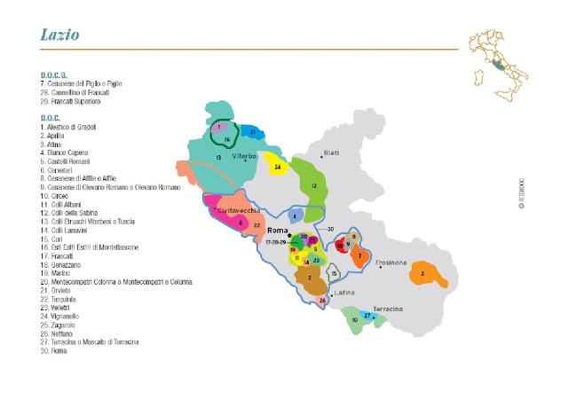 Map of Lazio wine region