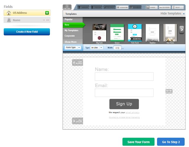 designing emai webform aweber