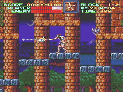 Simon Belmont using his whip in the video game Super Castlevania IV