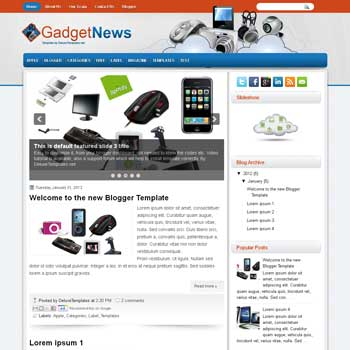 GadgetNews blogger template. template blogspot magazine style. download gadget magazine style blogger template