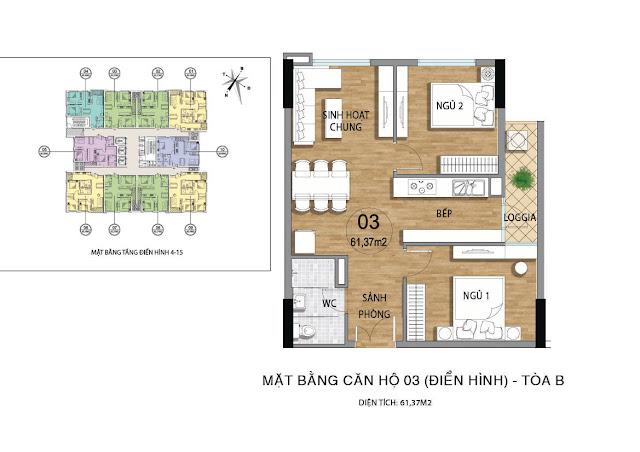 Mặt bằng căn hộ B03 tầng 4-15 dự án Valencia Garden