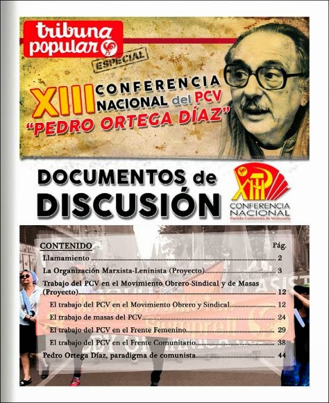 DOCUMENTOS DE DISCUSIÓN DE LA XIII CONFERENCIA NACIONAL DEL PARTIDO COMUNISTA DE VENEZUELA