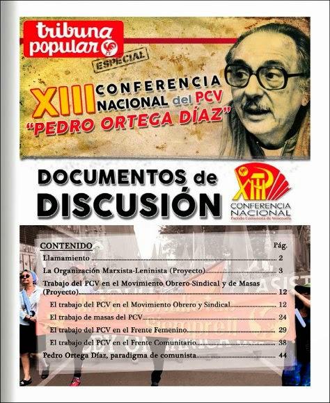 DOCUMENTOS DE DISCUSIÓN DE LA XIII CONFERENCIA NACIONAL DEL PARTIDO COMUNISTA DE VENEZUELA