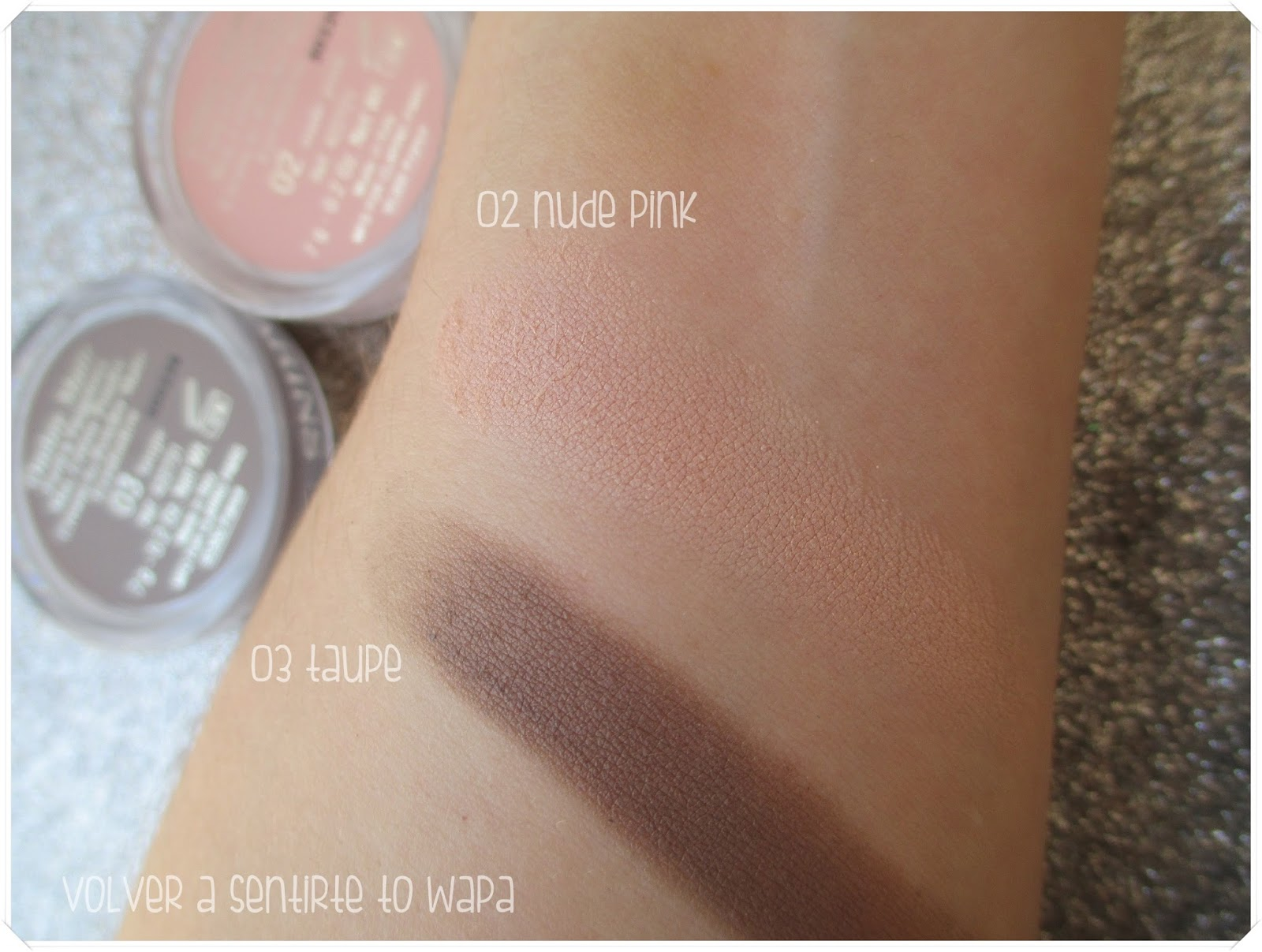 Ombre Matte de Clarins - 02 nude pink y 03 taupe - Swatches