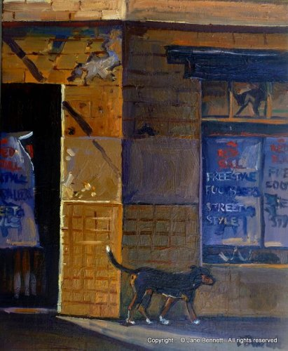 oil painting of a black dog and abandoned building in Pyrmont 'Black Dog (old bakery from John St)' 2012 oil on board 31x25cm by Jane Bennett, Artist