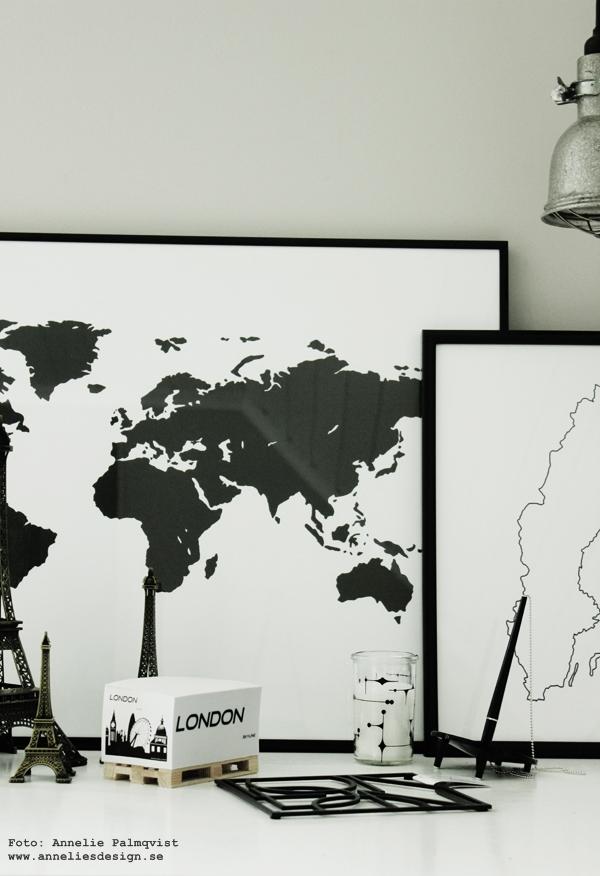 världskarta 50X70 cm, stor tavla, svartvita tavlor, världskartor, världskartan, karta, kartor, sverige, poster, posters, print, prints, konsttryck, annelies design & interior, anneliesdesign, webbutik, webbutiker, svartvita glaslyktor med ljus i, randigt, svartvitt randigt, peacetavla, peace, guldram, guldramar, tips på ram, memoblock med london, memo, block på lastpall, minilastpall, miniatyr lastpall, eiffeltorn, eiffeltornet i inredningen, inredning, inredningsdetaljer,
