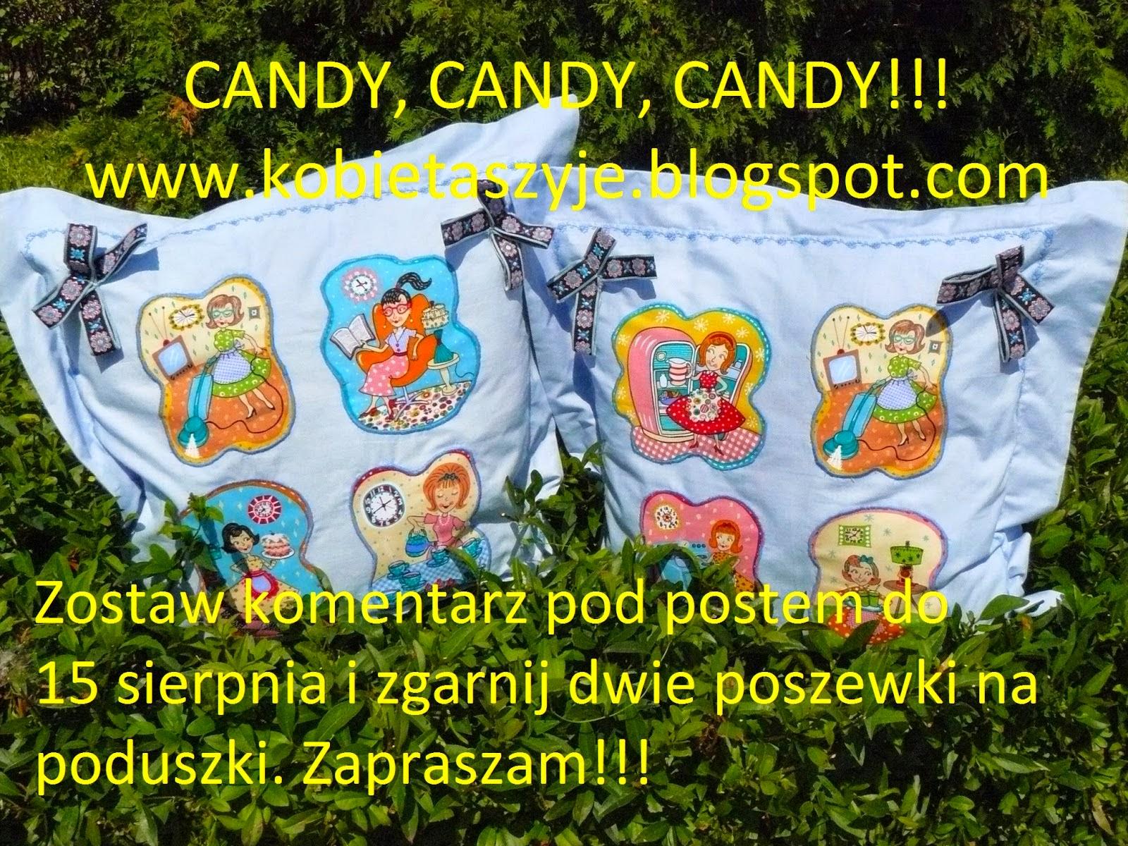 Candy u kobiety szyjącej