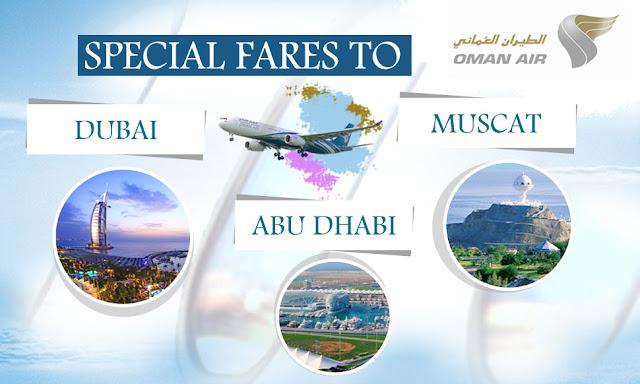 OMAN AIR - SPECIAL FARES TO DUBAI, ABHUDHABI, MUSCAT - www.aksharonline.com, Akshar Infocom, Akshar Tours and Travels, Akshar International, Akshar Travels, Ghatlodia Travel Agency, Air Ticket Booking, Hotel Booking