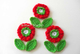 Crochet Flower Applique Red