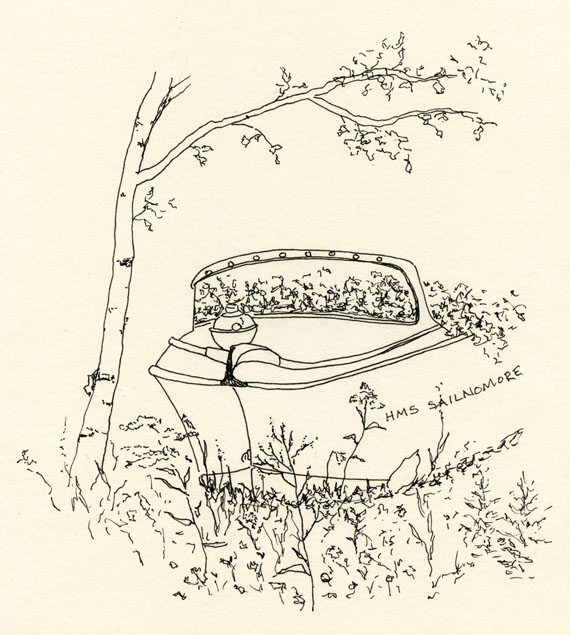 artist journal ink drawing of a speed boat that was filled with flowers