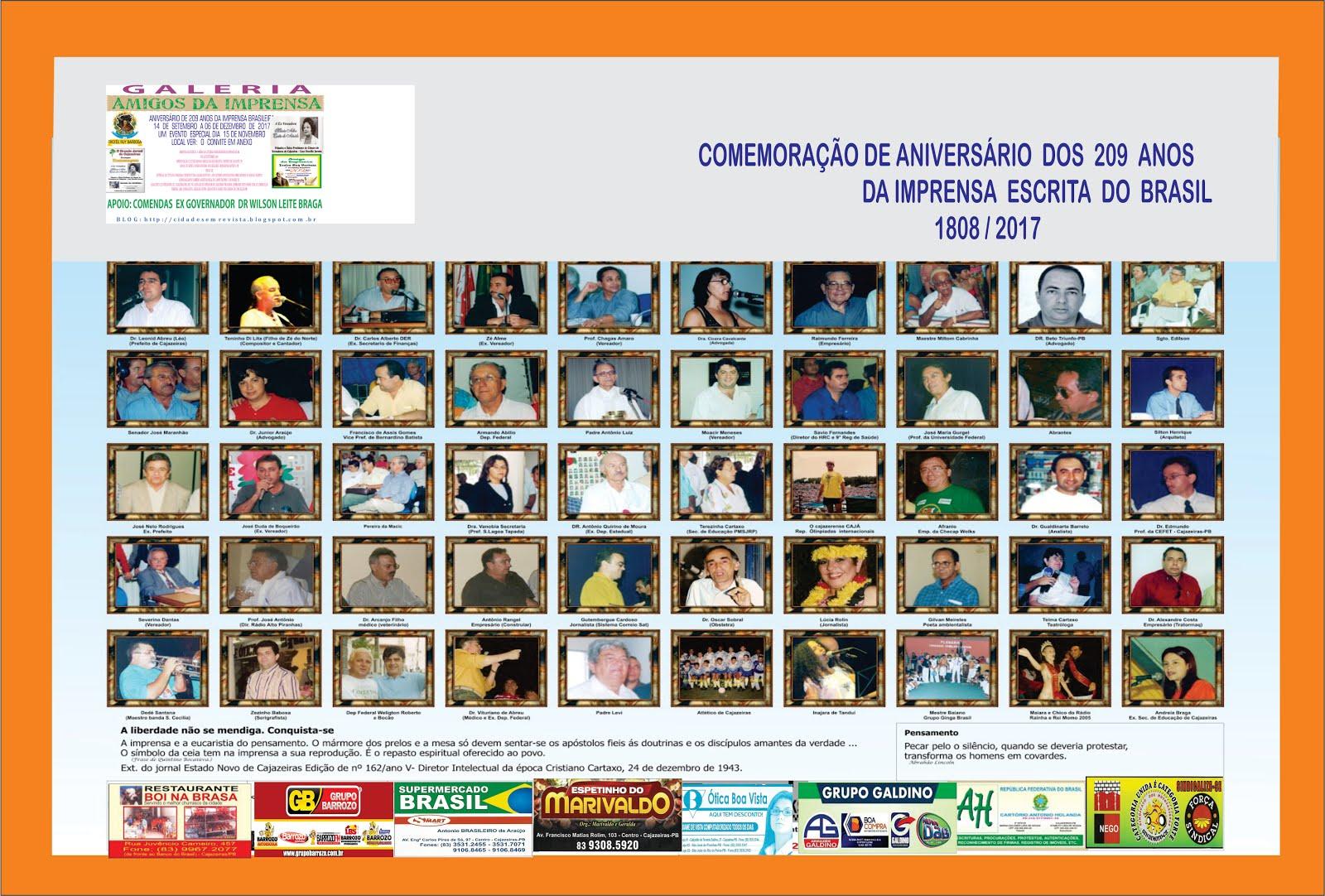 GALERIA  DOS CONTEMPLADOS AMIGO DA IMPRENSA  NOS  209 ANOS
