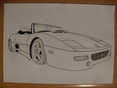 draw ferrari step by step finished