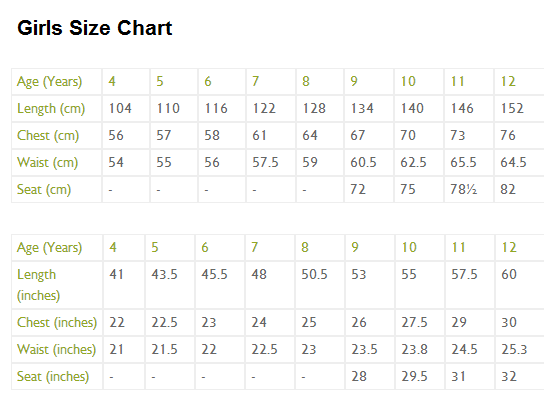 Girls Clothes Sizes Kids Zone