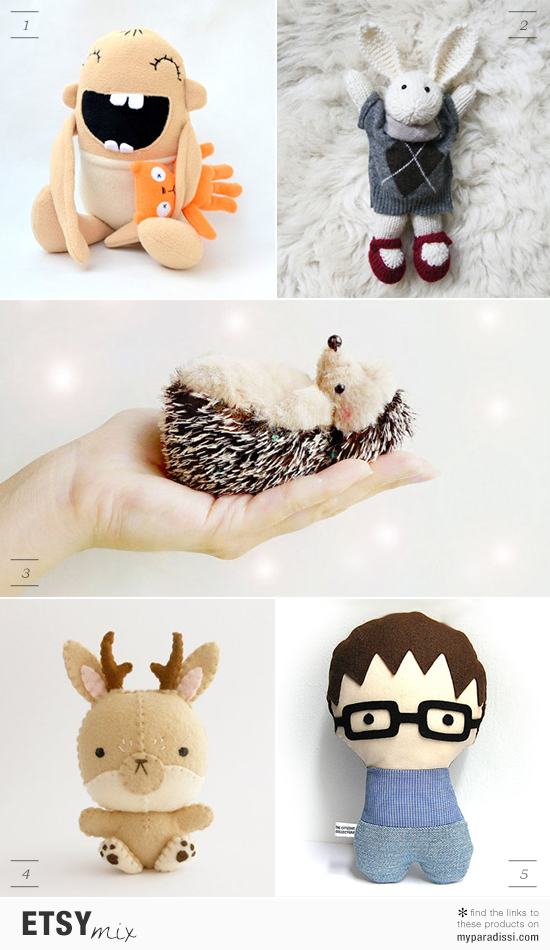 Cute handmade plush toys and dolls via Etsy