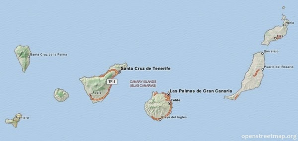 Mapa Wysp Kanaryjskich