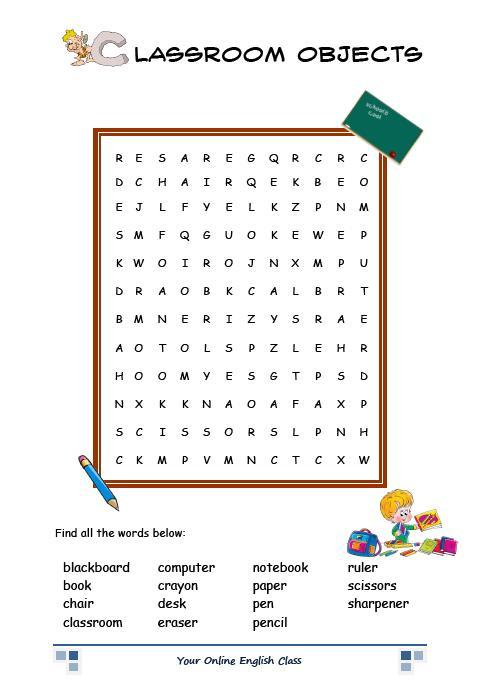 Ayuda a tu ingl s games and vocabulary school for 10 objetos en ingles del salon de clases