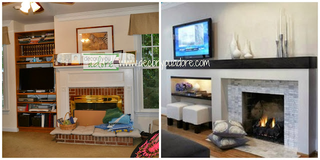 brick fireplace renovation, slate modern fireplace