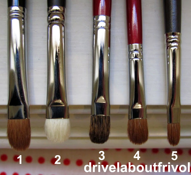 brush comparison Shu Uemura Natural 10, Chikuhodo Artist 6-6, 8-1, Louise Young LY09 MAC 239