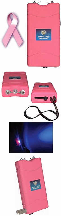 When you purchase the Strongest Pink Stun Gun 8 Million Volts Rechargeable from WomenOnGuard.com, a portion of the proceeds goes to fight Breast Cancer.