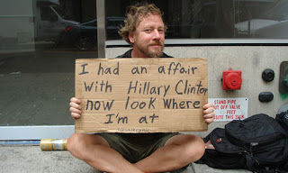 funny homeless sign hillary clinton