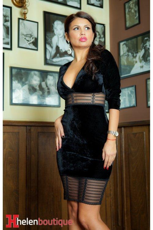 rochie neagră de catifea
