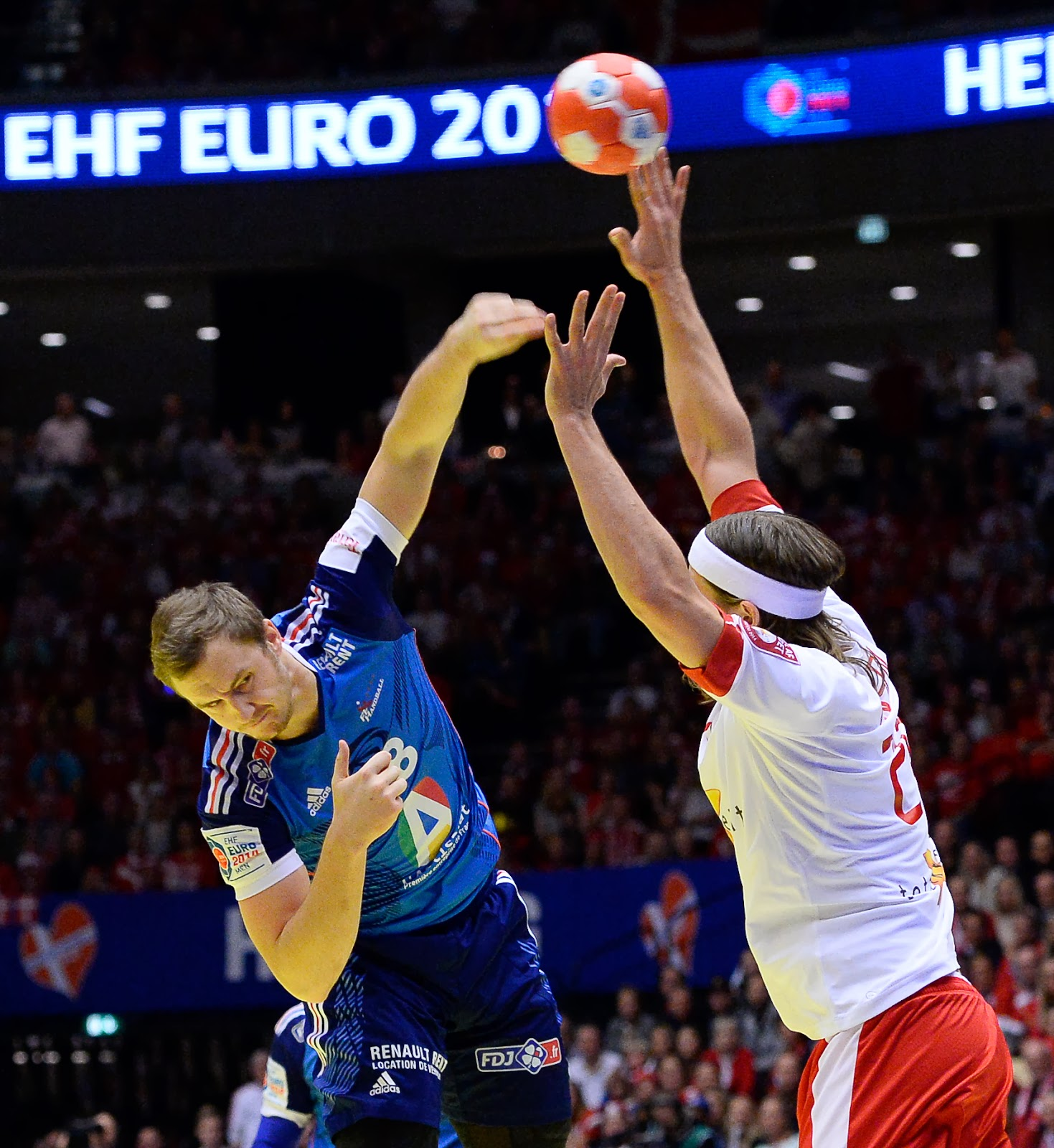 France, Denmark, EHF, Men, Euro 2014, Handball, Championship, Sports, Boxen Arena, Herning, Tournament, Spain, Nikola Karabatic, Player, Rene Toft Hansen, Denmark vs France, Final, Match,