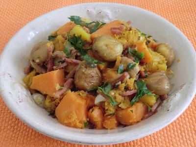 Poêlée de patate douce, potiron et châtaignes aux émincés de jambon
