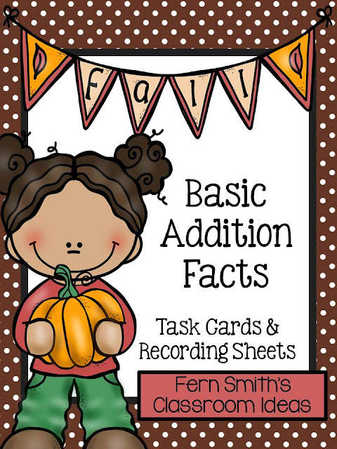 Fern Smith's Classroom Ideas Fall Addition Task Cards and Printables at TeacherspayTeachers Including Four Free Task Cards in the Preview Download.