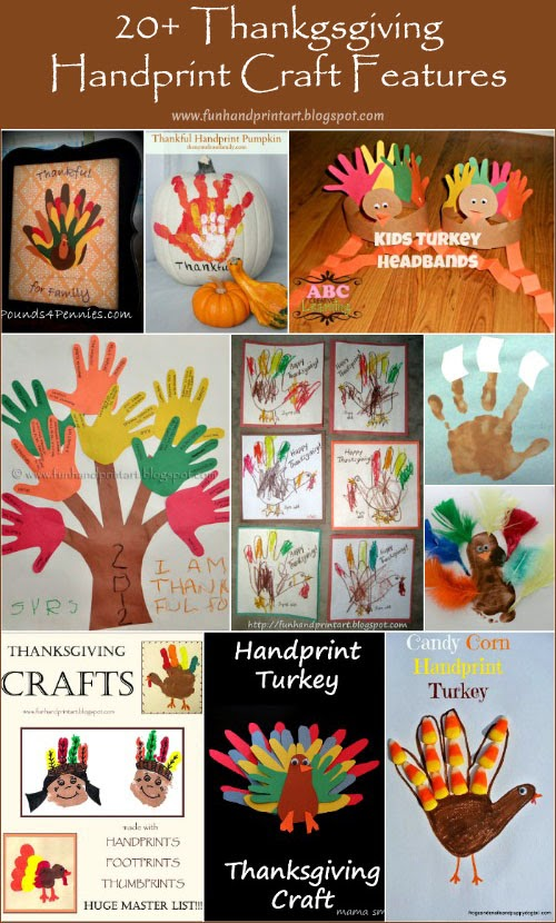 20+ Handprint & Footprint Thanksgiving Crafts #HandprintHolidays #kidsart